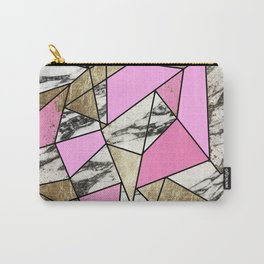 Girly Pink Geometric Gold and Modern Marble Carry-All Pouch