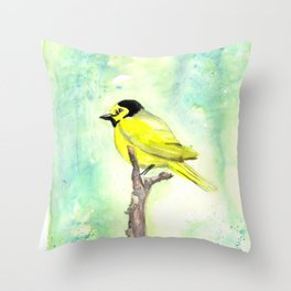 Hooded warbler in watercolor Throw Pillow