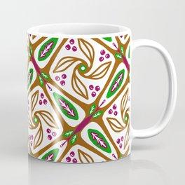 Retro Nature Leaf Geometric - Brown Green Geo 1 Coffee Mug