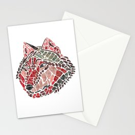 Red Wolf Painted Mosaic Illustration Stationery Cards
