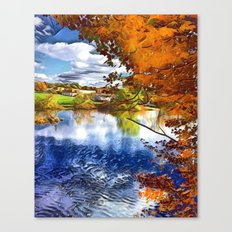 Romantic Fall River Town Nature View Canvas Print