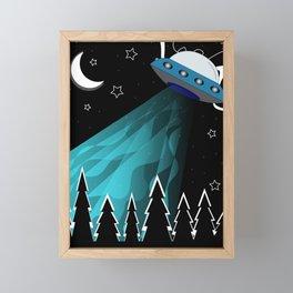 Aliens attack on earth in black dark night  Framed Mini Art Print
