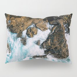 Ocean Waves Crushing On Rocky Landscape, Drone Photography, Aerial Landscape Photo, Ocean Wall Art Pillow Sham