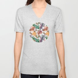 Colorful Watercolor Oak And Acorn Pattern Unisex V-Neck