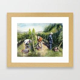 Vineyard Watercolor Landscape Wine Grapes Nature Framed Art Print
