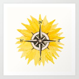 Compass  Sunflower Art Print
