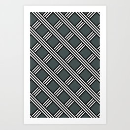 PPG Night Watch, Black & White Diagonal Stripes Lattice Pattern Art Print