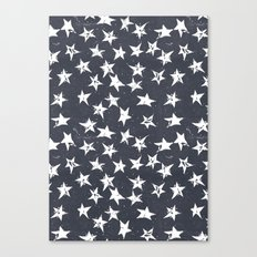 Linocut Stars - Navy & White Canvas Print