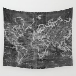 Black and White World Map (1801) Inverse Wall Tapestry
