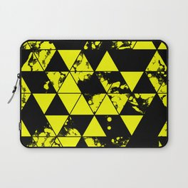 Splatter Triangles In Black And Yellow Laptop Sleeve