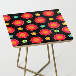 Colorful Flowers on Black Side Table