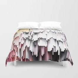 White Black Mauve Cascade Abstract Duvet Cover