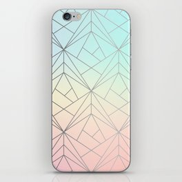 Geometric Silver Pattern on Pastel Gradient iPhone Skin