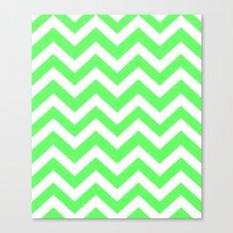 Screamin' Green - green color -  Zigzag Chevron Pattern Canvas Print