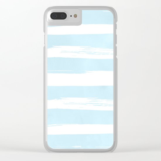 Pastel Blue Stripes Clear iPhone Case