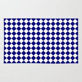 White and Navy Blue Diamonds Rug