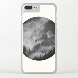 Mid Century Modern Round Circle Photo Graphic Design Foggy Black & White Pine Forest Clear iPhone Case
