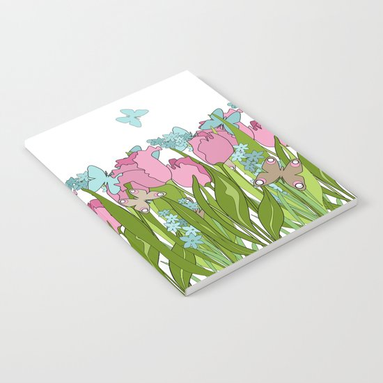 Pink tulips . Spring. Notebook