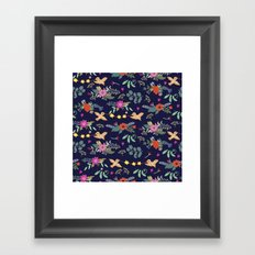 Cute vintage pattern with birds and flowers Framed Art Print