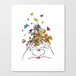 Girl Power - LOVE - print, Mixed media Decorative art, illustration,Motivational art Canvas Print