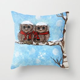 Snowy Owls Throw Pillow