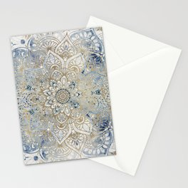Mandala Flower, Blue and Gold, Floral Prints Stationery Cards