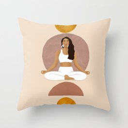 Yoga Girl, Meditation, Abstract Artwork, Illustration, Beige and Golden Colors Throw Pillow