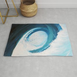 Flower of life in a wave Rug