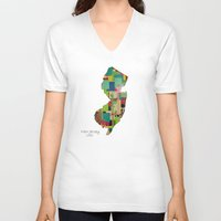 new jersey V-neck T-shirts featuring New Jersey state map by bri.buckley