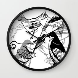 Painty birds Wall Clock