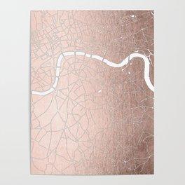 RoseGold on White London Street Map II Poster