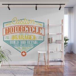 Retro Motorcycle Garage Sign Wall Mural