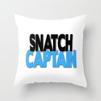 snatch Throw Pillows featuring Snatch Captain by Raunchy Ass Tees