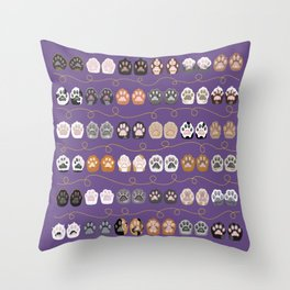 Toe Beans on Purple / Cat Paws Throw Pillow