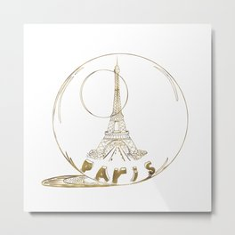Golden Paris . Eiffel tower . Art Metal Print