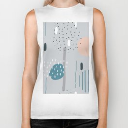 Geometric Abstract Doodling Pastel Colors Biker Tank