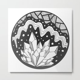 Crystal Cluster in Black and White Metal Print