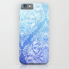 Out of the Blue - White Lace Doodle in Ombre Aqua and Cobalt iPhone 6 Slim Case