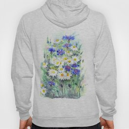 Watercolor chamomile and cornflowers Hoody