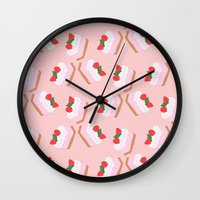 cake Wall Clocks featuring Cake by Inbeeswax