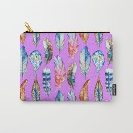 Hand painted pink blue violet bohemian feathers pattern Carry-All Pouch