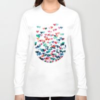 aqua Long Sleeve T-shirts featuring Heart Connections - watercolor painting by micklyn