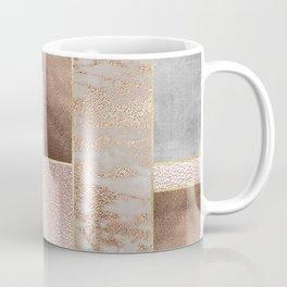 Copper and Blush Rose Gold Marble Quadrangle Geometrical Shapes Coffee Mug