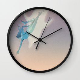 Abstract drawing of a swimming woman and a dolphin in the sea Wall Clock