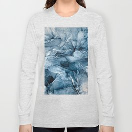 Churning Blue Ocean Waves Abstract Painting Long Sleeve T-shirt