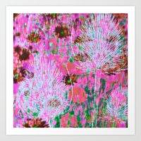 Thistles Pink Art Print