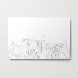 Edinburgh, Scotland UK Skyline B&W - Thin Line Metal Print