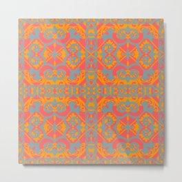 Orange and SeaGreen Tile Theme Metal Print