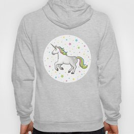 Unicorns and Stars - White and Rainbow scatter pattern Hoody