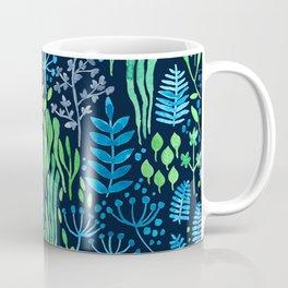 Watercolor floral doodles dark background Coffee Mug